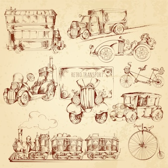 Esboço de transporte vintage