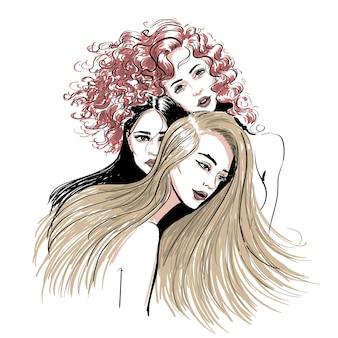 Esboço de três mulheres de estilo de cabelo de cores diferentes