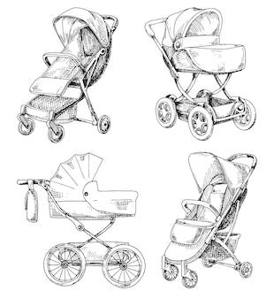 Esboço de um carrinho de bebê e um carrinho para caminhadas. ilustração vetorial