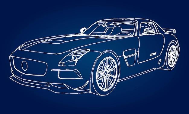 Esboço de um carro esportivo moderno sobre um fundo azul com um gradiente.