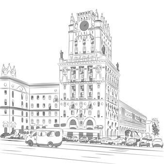 Esboço de um centro da cidade station square minsk belarus