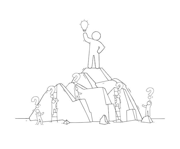 Esboço de um grande homem com a ideia de lâmpada. doodle cena em miniatura fofa de trabalhadores criativos. Vetor Premium