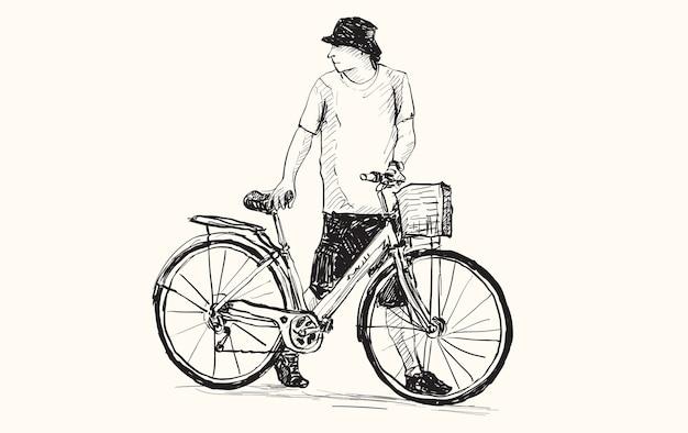 Esboço de um homem e uma bicicleta, desenho à mão livre e ilustração