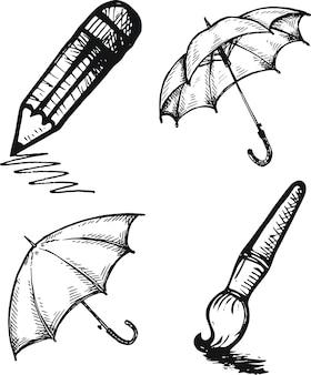 Esboço de um lápis de escova de guarda-chuva no fundo branco.