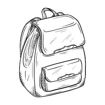 Esboço de uma mochila feminina. bolsa elegante e moderna para meninas. ilustração em preto e branco desenhada à mão