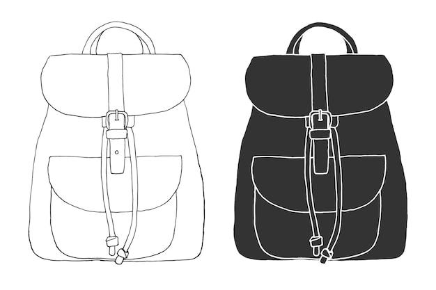 Esboço de uma mochila. mochila isolada em fundo branco. ilustração em vetor de um estilo de desenho.