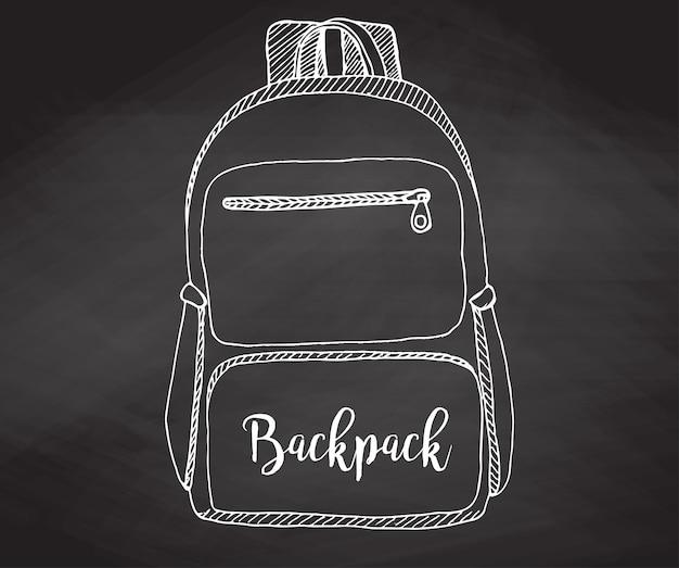 Esboço de uma mochila. mochila isolada na lousa. ilustração em vetor de um estilo de desenho.