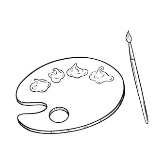 Esboço de uma paleta de madeira redonda com tintas acrílicas e um pincel artístico. desenhado à mão preto e branco