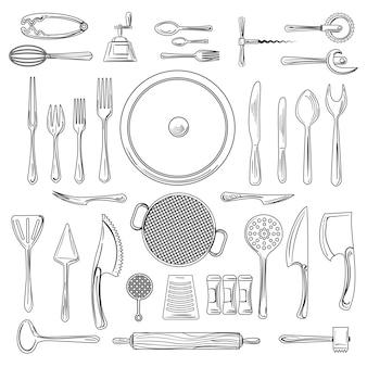 Esboço de utensílios de cozinha ou utensílios de cozinha