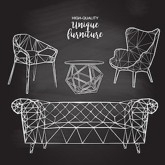 Esboço de vetor poligonal cadeiras mesa de café de sofá