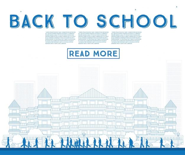 Esboço de volta às aulas. banner com ônibus escolar, edifício e alunos. ilustração vetorial.
