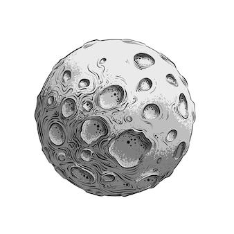Esboço desenhado à mão da lua na cor, isolado no branco.