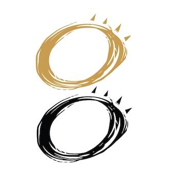 Esboço desenhado à mão de 2 cores, eclipse solar minimalista, design ilustrado do logotipo do vetor.