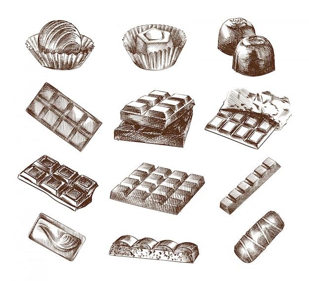 Esboço desenhado à mão de chocolate e barras de chocolate. o conjunto é composto por toda a barra de chocolate, doces de chocolate, bombons de chocolate, chocolate quadrado, chocolate em uma embalagem.
