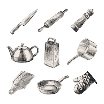 Esboço desenhado à mão de louça de cozinha. o conjunto é composto por faca, chaleira, rolo, pimenteiro, ralador, panela, tabuleiro, luva de cozinha