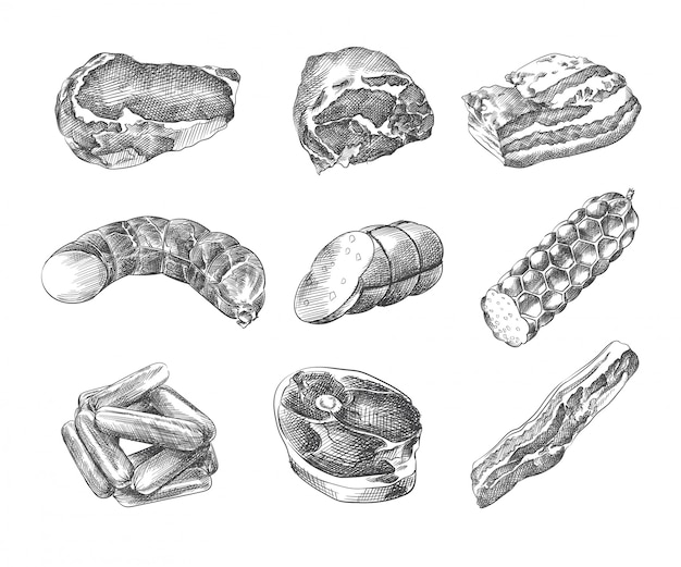 Esboço desenhado à mão de salsichas sortidas. o conjunto inclui salsichas, salsicha, presunto, bacon, salsicha de médico, salsicha defumada, carne de porco cozida a frio