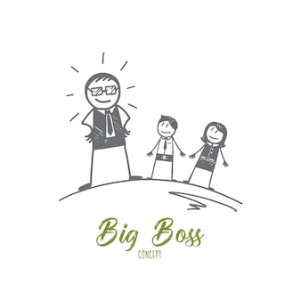 Esboço desenhado à mão do conceito de big boss