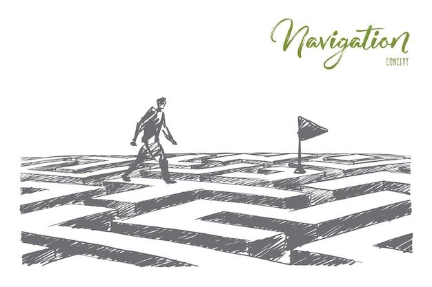 Esboço desenhado à mão do conceito de navegação.