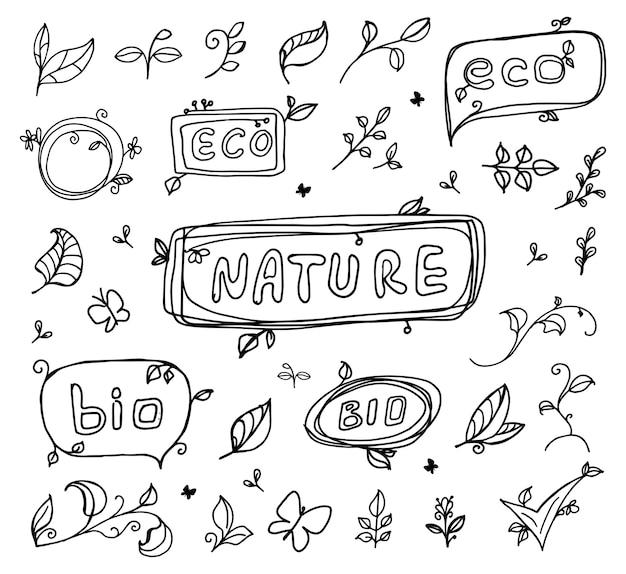 Esboço desenhado à mão eco bio ecologia