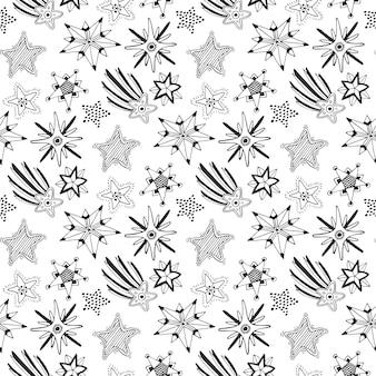 Esboço desenhado à mão estrelas padrão sem costura. fundo infantil para têxtil ou embrulho