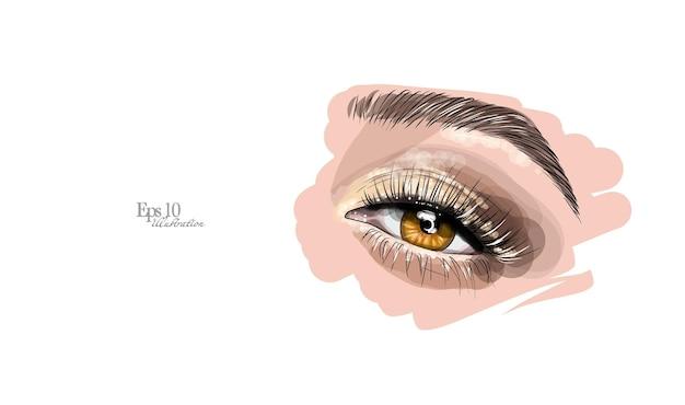 Esboço desenhado à mão. maquiagem dos olhos, extensão de cílios e modelagem de sobrancelha