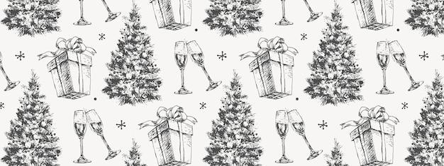 Esboço desenhado à mão padrão de natal novo presente de ano