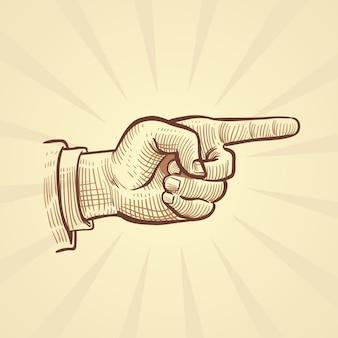 Esboço desenhado à mão retrô, apontando o dedo