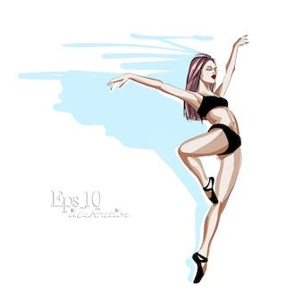 Esboço desenhado à mão. uma linda bailarina em sapatilhas de ponta, dança lindamente.