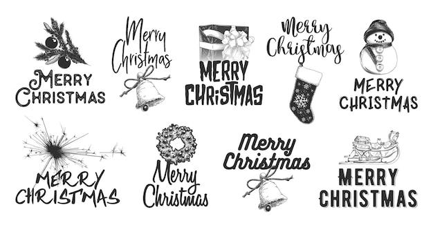 Esboço desenhado conjunto de férias de natal e ano novo