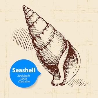 Esboço desenhado da mão de concha. ilustração vintage