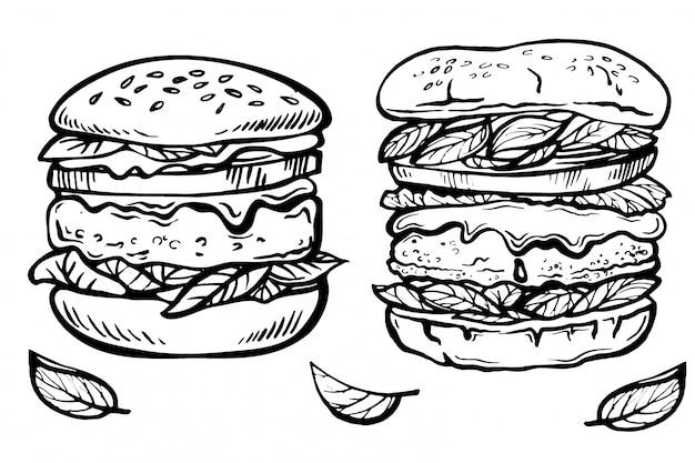 Esboço desenhado de mão cheeseburger e hamburger. ilustração de doodle de tinta de fast-food.