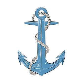 Esboço desenhado de mão da âncora de navio com corda