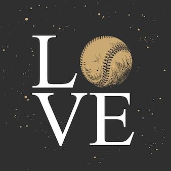 Esboço desenhado de mão da bola de beisebol com uma palavra