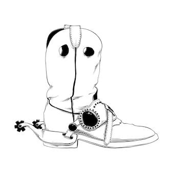 Esboço desenhado de mão da bota de cowboy ocidental
