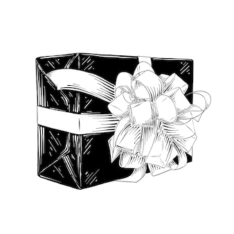 Esboço desenhado de mão da caixa de presente