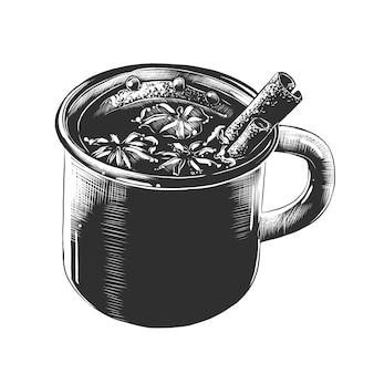 Esboço desenhado de mão da caneca de vinho quente