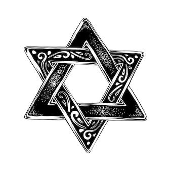 Esboço desenhado de mão da estrela de david judeu em preto