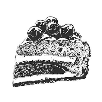 Esboço desenhado de mão da fatia de bolo em preto e branco
