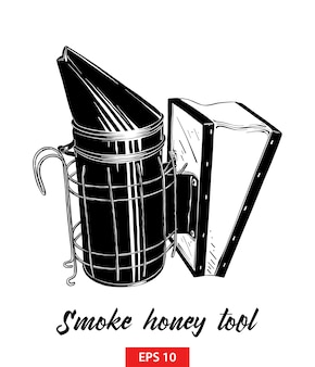 Esboço desenhado de mão da ferramenta de mel de fumaça