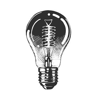 Esboço desenhado de mão da lâmpada de luz em monocromático