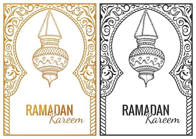 Esboço desenhado de mão da lanterna do ramadã