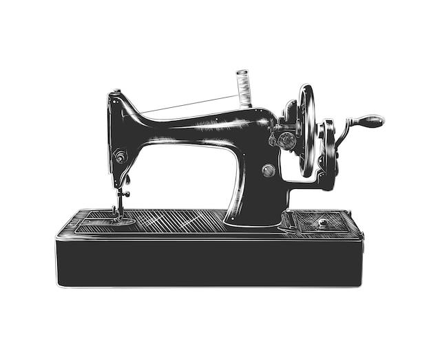 Esboço desenhado de mão da máquina de costura em monocromático