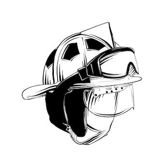 Esboço desenhado de mão da máscara de gás de bombeiro