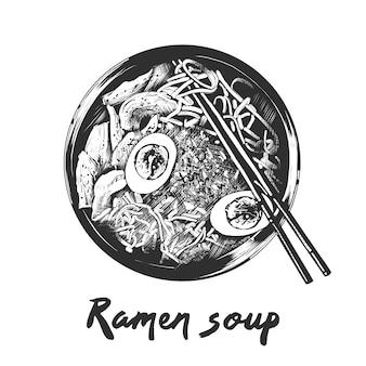 Esboço desenhado de mão da sopa de ramen em monocromático