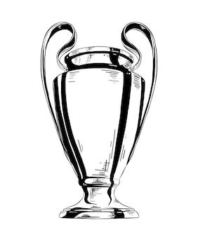 Esboço desenhado de mão da taça de campeão em preto