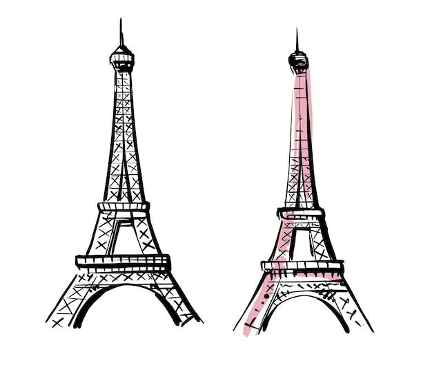 Esboço desenhado de mão da torre eiffel.