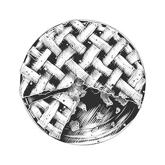 Esboço desenhado de mão da torta americana em monocromático