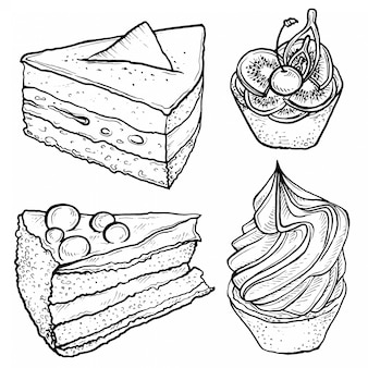 Esboço desenhado de mão da torta