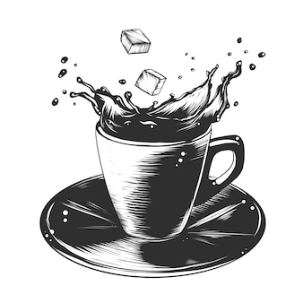 Esboço desenhado de mão da xícara de café em preto e branco