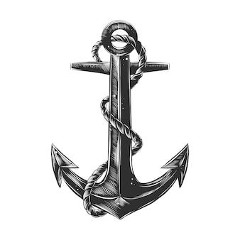 Esboço desenhado de mão de âncora de navio com corda
